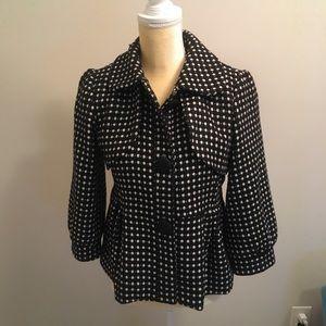 Hazel Women's Black/White Short Peplum Coat
